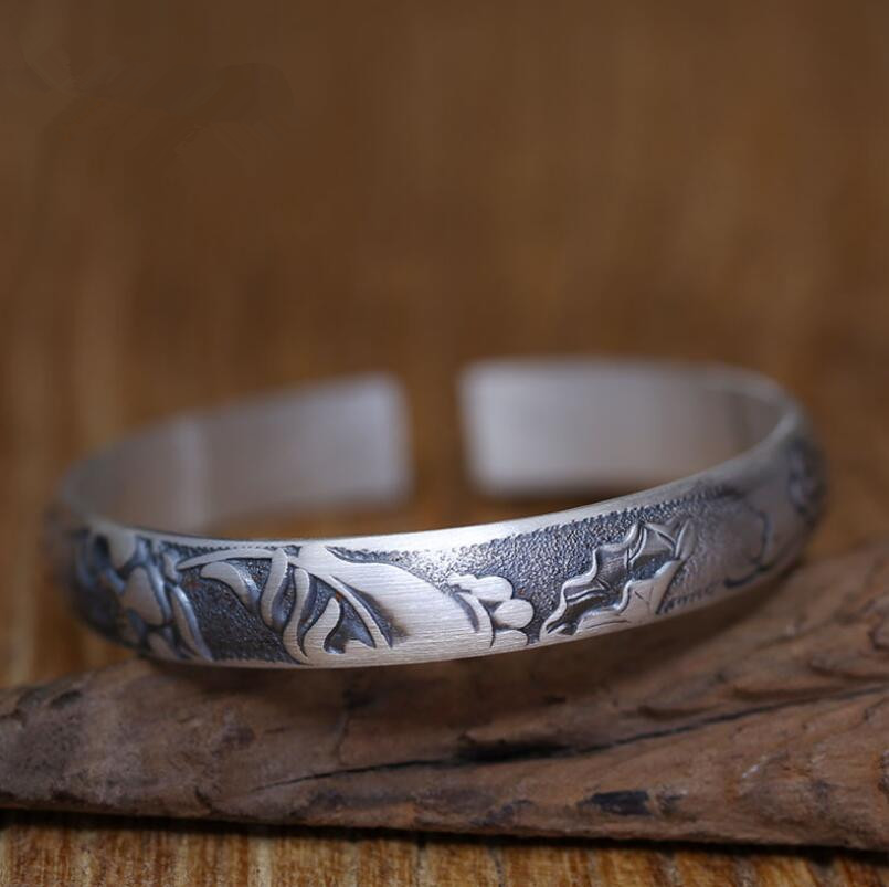 S999 Silver Engraved Lotus Vintage Ethnic Women Jewelry бижутерия mr safina s999