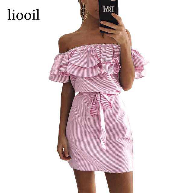 Liooil 2017 Summer Casual Off Shoulder Striped Mini Dress Fashion Sky Blue And White Ruffles Strapless Sexy Women Beach Dress