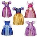 2017 Nuevas Muchachas del vestido de Cuento de Hadas de Cenicienta Blancanieves princesa de pelo largo Bella Durmiente vestidos Impresos Envío Libre 55