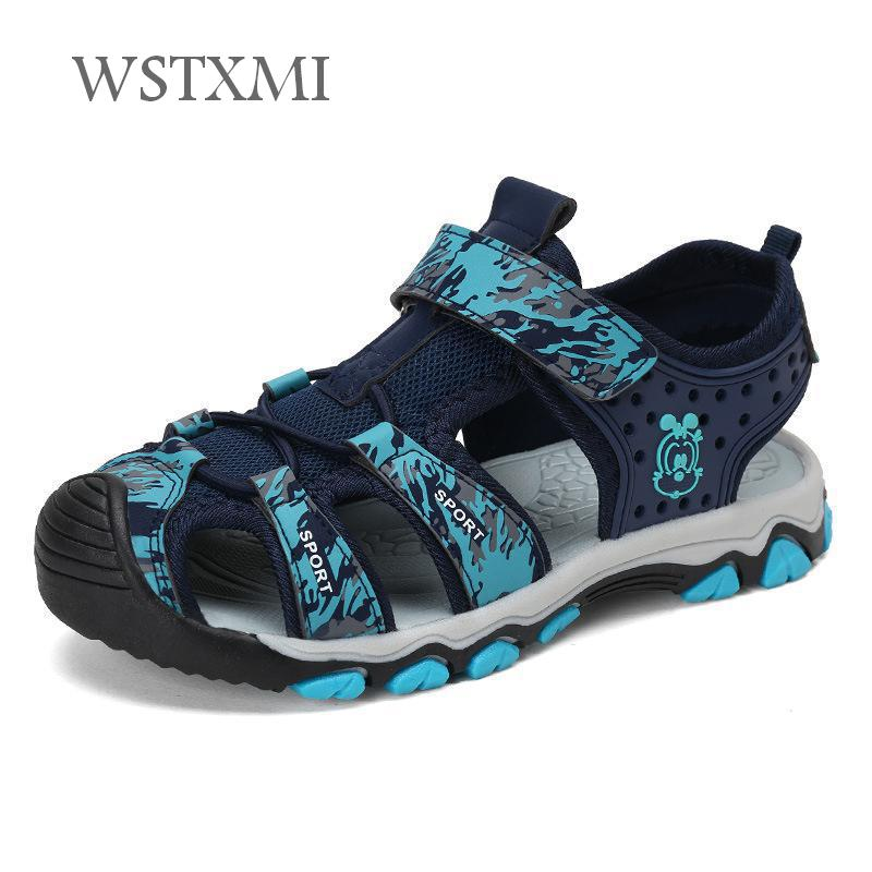 Summer Boys Sandals for Kids Beach Shoes Mesh Plus Leather Breathable Outdoor Sports Close Toe Children Flats Sandals 6-14 Year