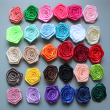 2015 new arrival 6CM Mini  satin Roses Flowers Heads Rosette For Baby Headbands hair accessories 30pcs/lot