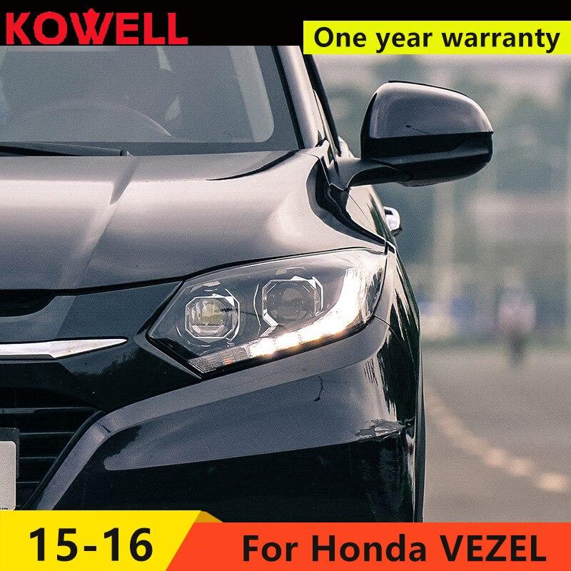 KOWELL Car Styling For honda VEZEL HRV headlight LED headlight DRL front light Bi Xenon lens