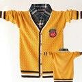 Высокое качество дети одежда для детей мальчики свитера марка дизайн отложным Поддельные воротник верхней одежды модные мальчики кардиган детская одежда