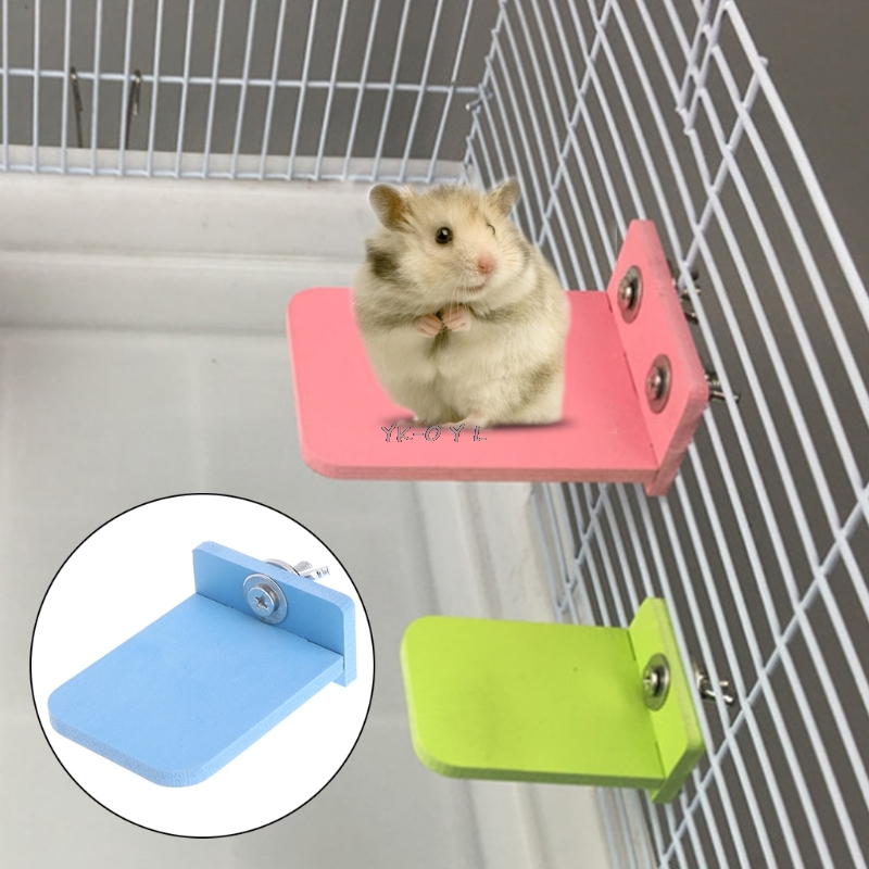Hamster Platform Stand Rack Rectangle Squirrel Cage Colorful Wooden Plate Toys