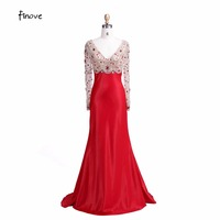 Sexy V Neck Sheath Formal Evening Dresses Beaded Long Sleeve Evening Gowns Empire 2015 New Design