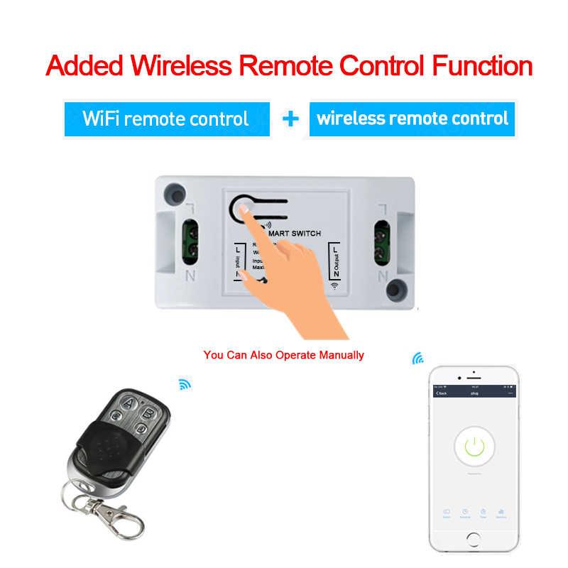 QIACHIP RF WIFI inalámbrico 10A IOS Android 2200 W AC 90-250 V Módulo de interruptor de luz inteligente para el hogar + transmisor Inalámbrico de Panel de pared 86