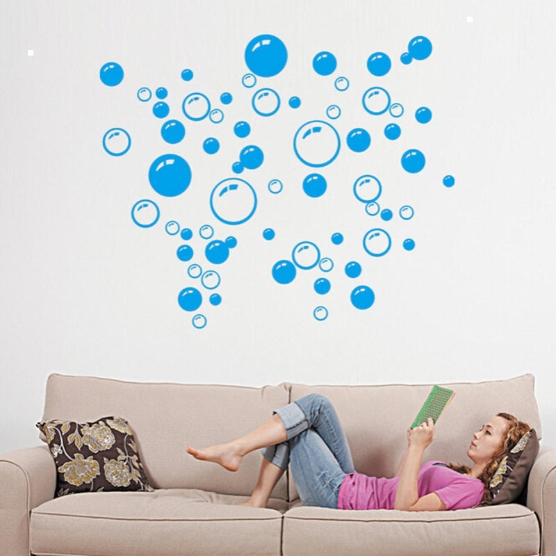 2 Sheets Removable Waterproof Bubbles Pattern Wall Sticker Art Bathroom  Shower Tile Window Door Decal DIY