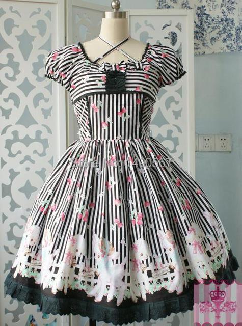 Kurzarm knielangen Black Cotton Klassische Partykleider Sweet Lolita ...
