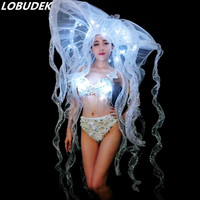 Sexy White Pearls Bikini Women Costume LED Crystals Bra Hat Nightclub Bar Stage Outfits Model Catwalk DJ Performance Dance Wear
