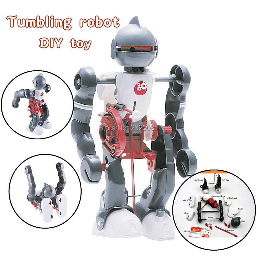 DIY tumbling robot electric experiment toys,children's game&learn educational assembled building robot model science kit diy wooden electric science walking robot toy model kit physical science experiment kit creative robot educational toys gifts