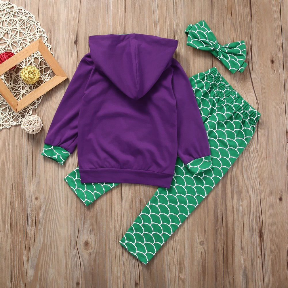 3PCS Set 2017 Spring Kids Girls Mermaid Tops Hoodie Pants Legging Outfits Clothes Set Children Clothing