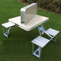 Tourism Out door aluminium alloy folding table Conjoined desk chair Portable camping picnic barbecue Advertising Exhibition desk