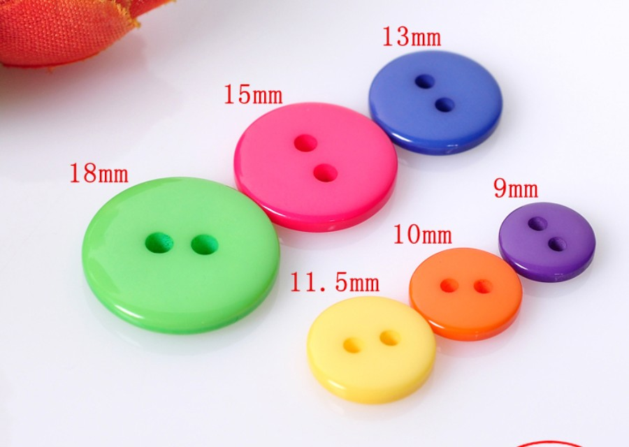 100pcs Mixed 2 hole Resin buttons Round Sewing Decor 5mm