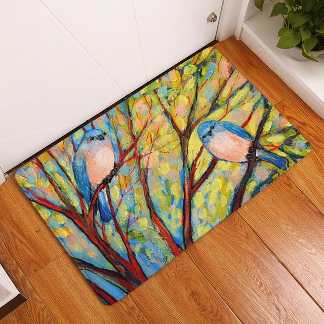 DecorUhome Waterproof Floor Mat Cartoon Painting Birds Tree Kitchen Rugs  Bedroom Carpets Decorative Stair Mats Home