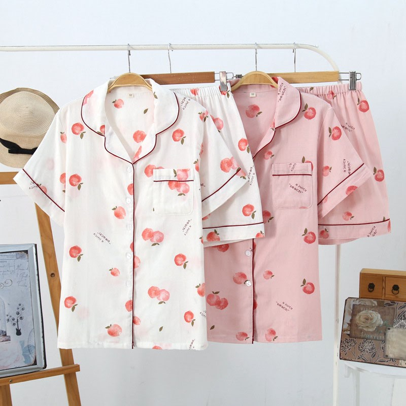 Summer Fresh Juicy Peach   Pajama     Sets   Women Cute Short Sleeves Cotton Pijamas Korean Kawaii Short Pyjamas