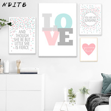 NDITB Pink Heart Dot Canvas Art Posters Love Nursery Prints Minimalist Painting Wall Picture for Baby Girls Living Room Decor