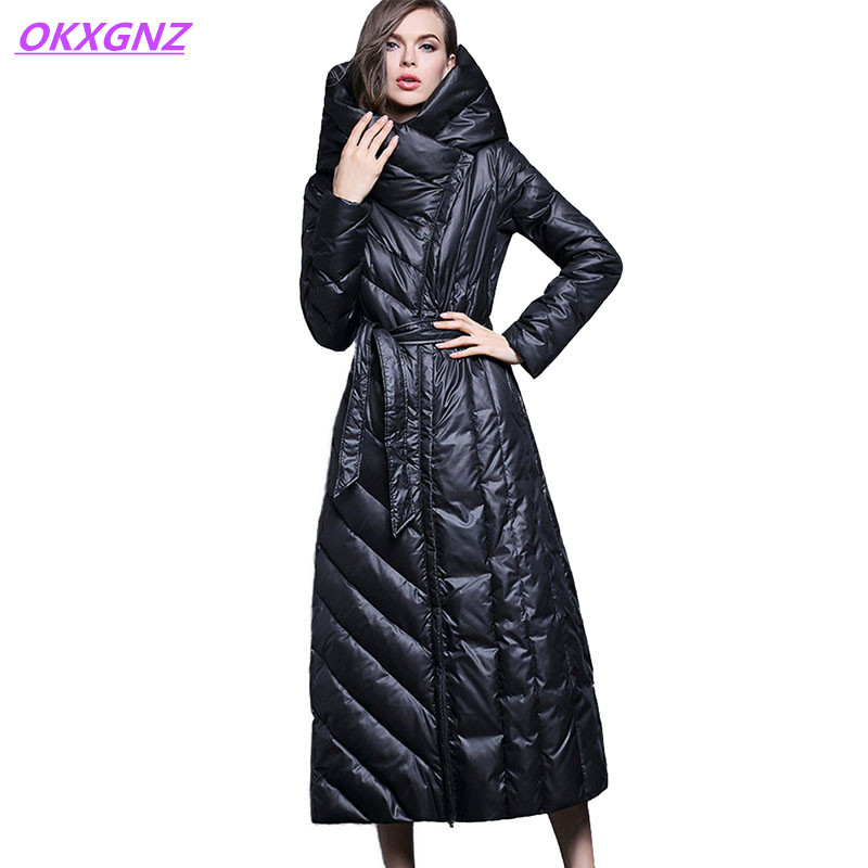 Winter   down   jacket women Lengthen parka Hooded   coat   female Plus size XS-7XL Thicken high quality Biological white duck   down     coat