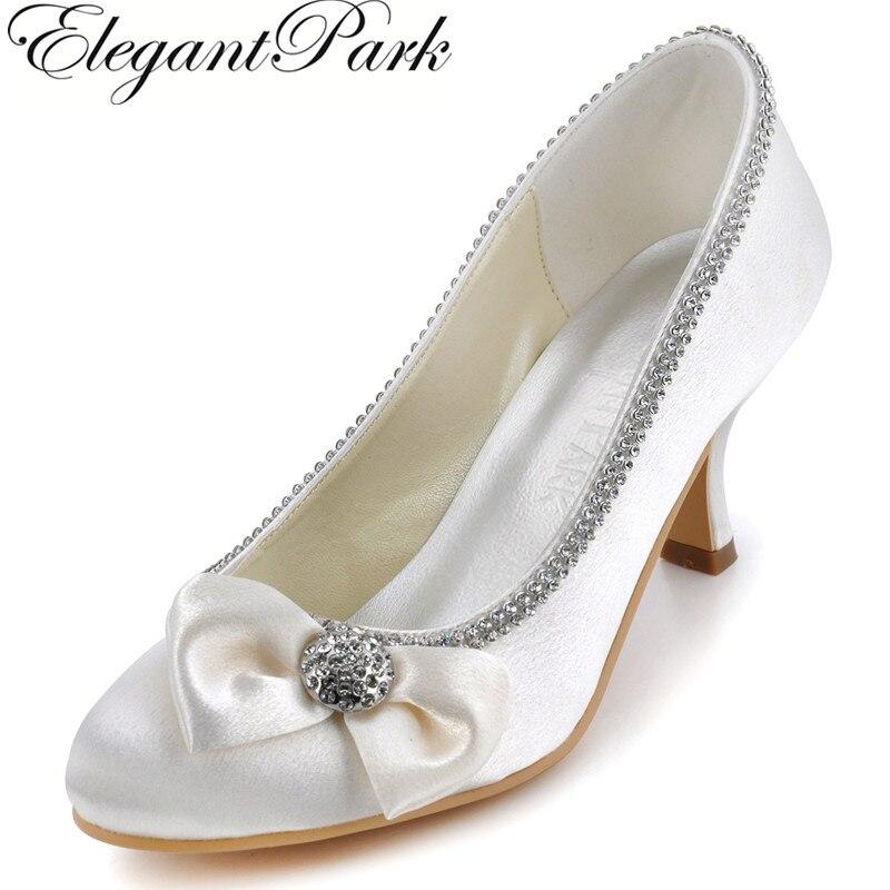 AJ8960 femme chaussures ivoire bout rond nœud strass garniture mi-talon Satin femmes mode mariage pompes de mariée