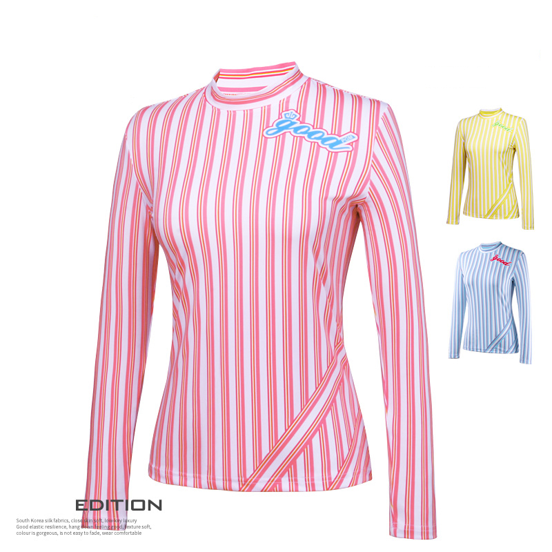 New Womens Tshirt Golf Clothes Ladies Long Sleeve T-shirt Vertical Stripes Autumn Golf Sports Apparel High Quality polo golf clothes costume lady golf zipper collar shirt cotton autumn jacket long sleeved tshirt fashion korean female clothing