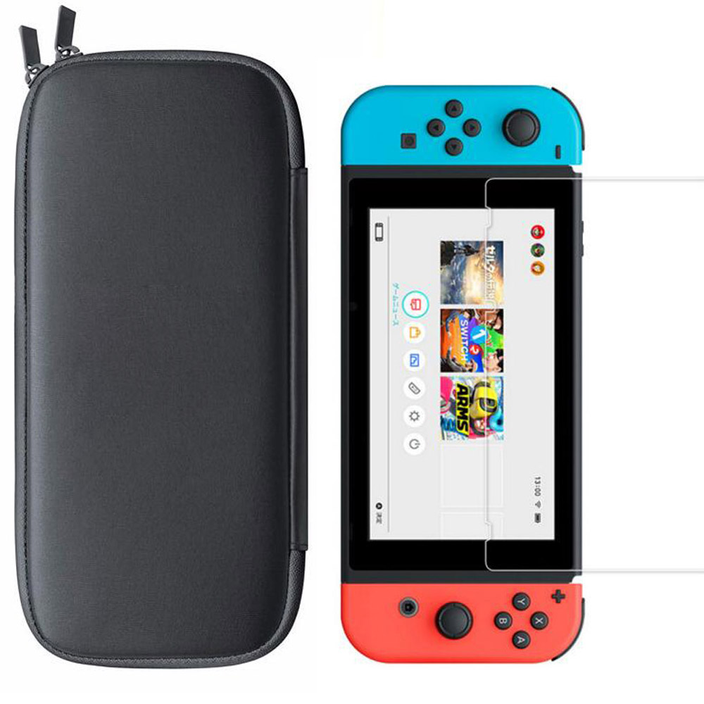 Travel Carry Bag with HD Tempered Glass Screen Protector for Nintendo