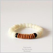 Натуральный Белый Бодхи скорлупы кокосового ореха оливковое гайка Тибетский Буддизм мала Бусины браслет унисекс молитвы и Йога медитация Ом ювелирные изделия