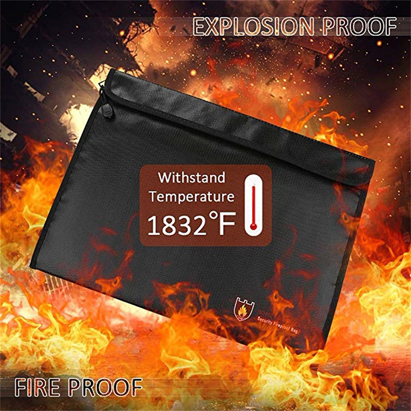 Fire Proof Pouch Cash Storage Safe Bag Fire Water Resistant Material Safe For Documents ID Card Passport Bills Receipts Money