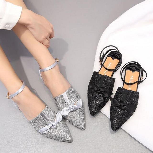 4b13129666de Brand Glitter Sequins Mules Shoes Woman Silk Bow Flat Sandals Ballerina  Closed Toe Sandalias Mujer Ladies Buckle Strap Sandalet