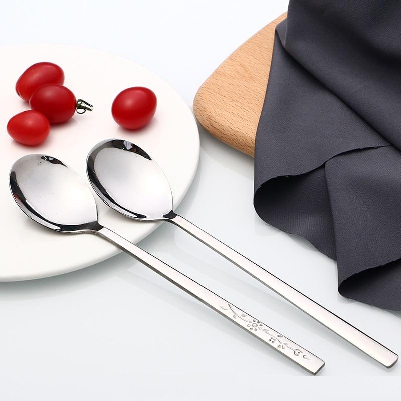 100pcs Stainless Steel Delicate Long-handled Students Stirring Korean Lovely Spoons Long Handled Tableware Icecream Spoon
