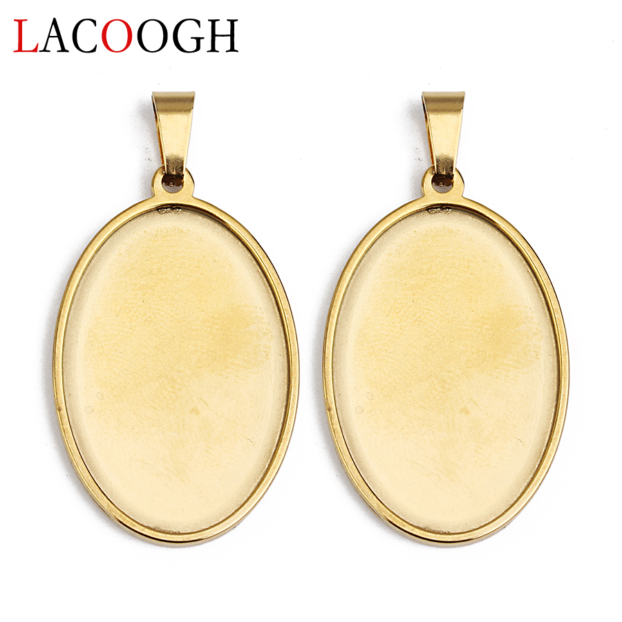 Wholesale 5pcs Oval Round Cabochon Base Setting 18*25mm 30*40mm Fit Glass Cameo For Necklace DIY Handmade Jewelry Making Finding