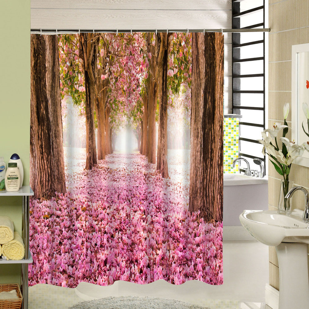 Water Resistant Fabric Bath Curtain Pink Flowers Shower Curtain Scenery Art Print Bathroom Decoration Accessory Set with Hooks