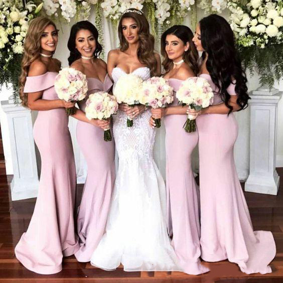 2019 Off The Shoulder Satin Long   Bridesmaid     Dresses   2019 Ruched Split Floor Length Maid of honor Wedding Guest Party   Dresses
