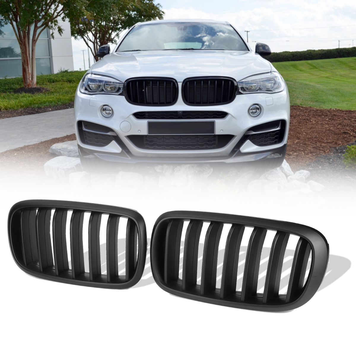 1 Pair Matte Black Front Bumper Racing Grill Kidney Grill Grilles For BMW X5 F15 X6 F16 2013 2014 2015 2016 2017 2018 pair gloss matt black m color front kidney racing bumper grille grill for bmw x5 f15 x6 f16 x5m f85 x6m f86 2014 2015 2016 2017