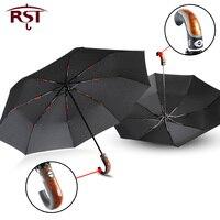 Gental estilo britânico guarda-chuva automático chuva feminino dobrado lidar com guarda-chuva masculino forte à prova de vento 3 dobrável qualidade do negócio paraguas