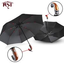 Gental estilo britânico guarda chuva automático chuva feminino dobrado lidar com guarda chuva masculino forte à prova de vento 3 dobrável qualidade do negócio paraguas