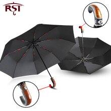 Gental בריטי סגנון אוטומטי מטריית גשם נשים כפוף ידית גברים מטרייה חזק Windproof 3 מתקפל עסקים באיכות Paraguas