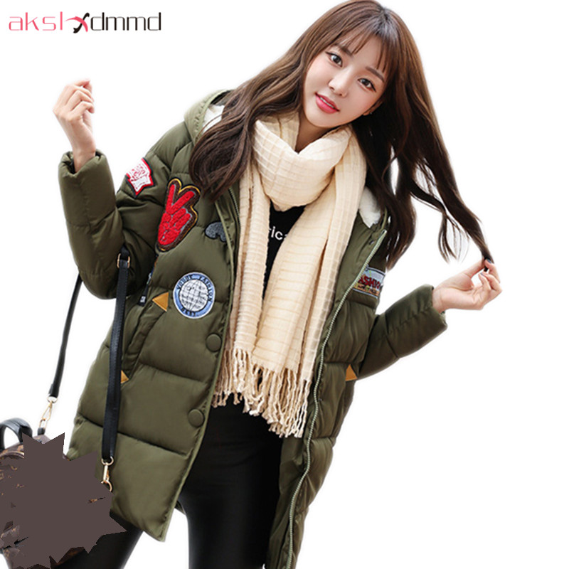 AKSLXDMMD Fashion Casual Winter Thick Hooded Jacket 2017 New Parka Women Parttern Letters Mid-long Coat Female Overcoat LH1227 akslxdmmd women winter jacket 2017 new female jacekt fashion hooded printed letters thick padded woman coat parkas mujer lh1066