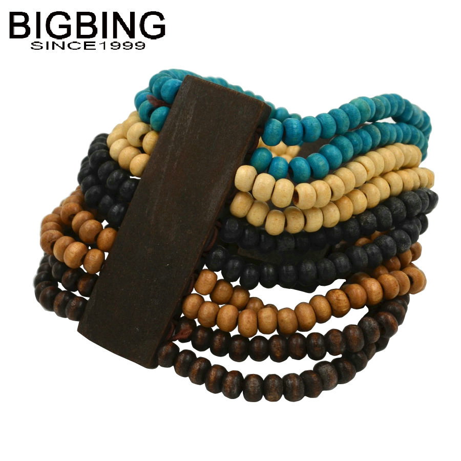 T011 BIGBING Jewelry Blue Wood Beads Wide Stretch Bracelet Nickel