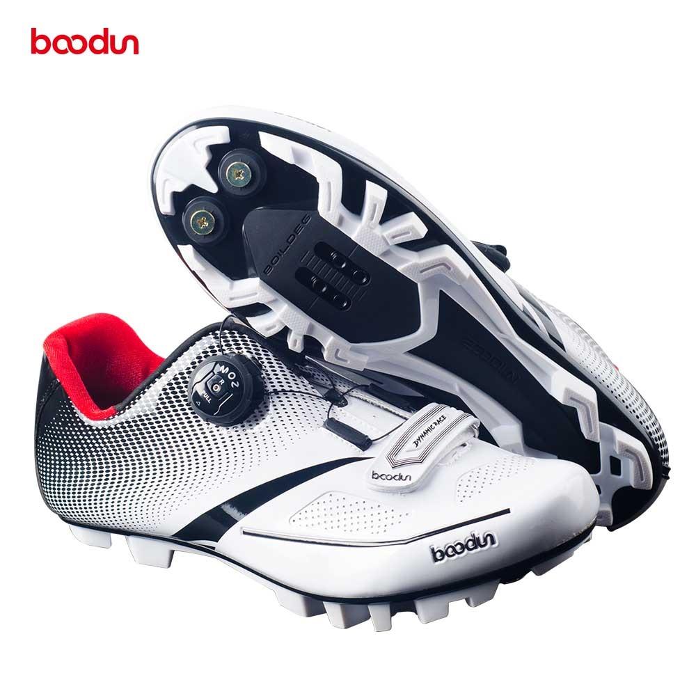 Купить с кэшбэком BOODUN MTB Cycling Shoes add SPD pedal set Breathable Professional Self-Locking Bicycle Non-Slip Bike Racing Sapatos de ciclismo
