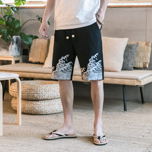 Tradition Print Casual Cotton Linen Shorts Men Straight Loose Drawstring Knee Length Beach Shorts Men M-5XL недорого