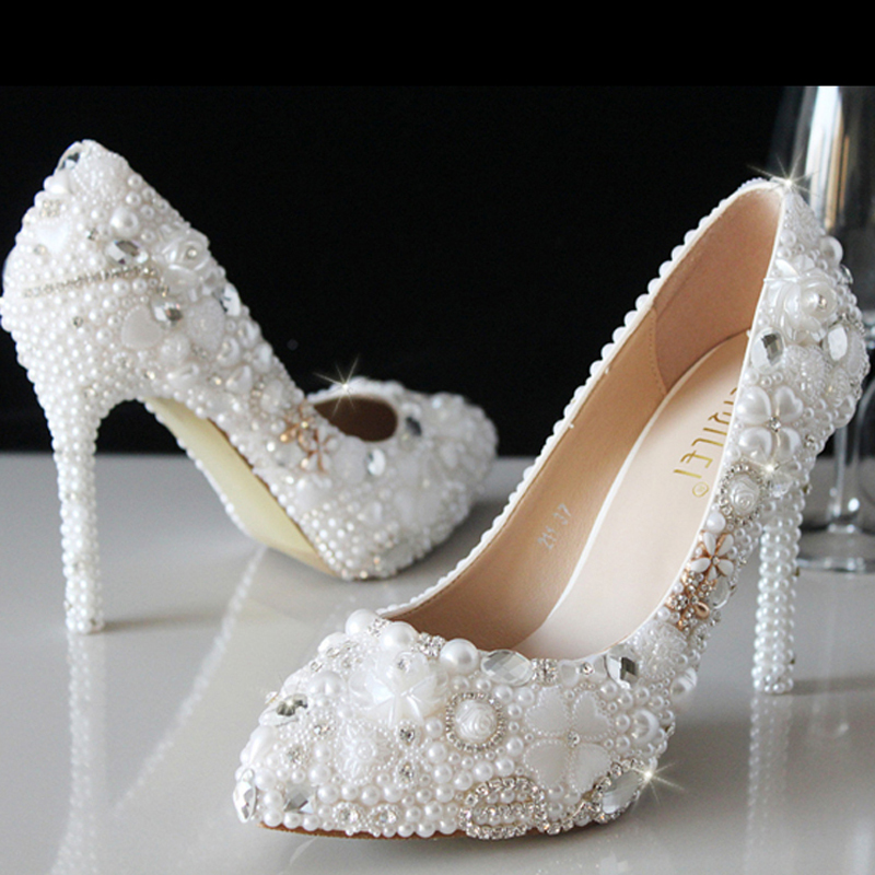 wedding shoes with pearls luxury white pearl women high heel new evening dress pumps 1141