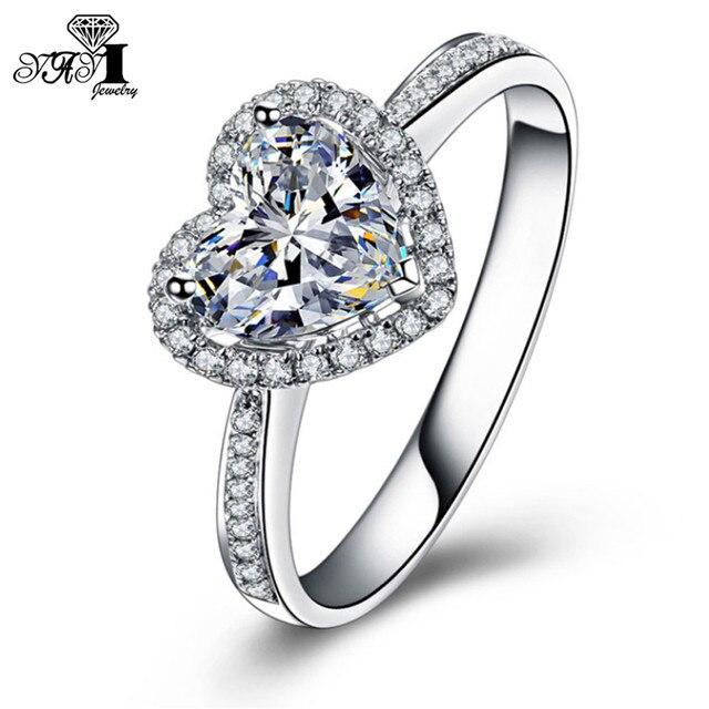 Yayi Mode Frauen Schmuck Ring Herz 1 35ct Weiss Cz Silber Farbe