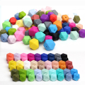 20pcs Silicone Beads Teething Hexagon14mm Baby Chews Bead Teether For Pacifier Holder And Nursing Necklace Diy