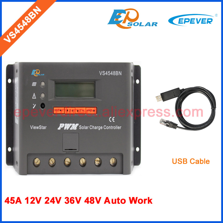 45A 45amp 12v/36v/48v VS4548BN+USB cable communication PC function solar PWM battery charge controller pwm new viewstar series solar battery charge controller vs4548bn 45a 45amp epever epsolar 12v 24v 36v 48v auto work