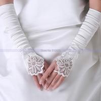 стильные свадебные аксессуары белый пальцев локтя длина святой свадебные перчатки мягкие кружево атлас прихватки для мангала свадебные костюмы
