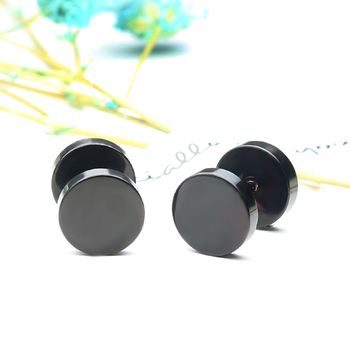 Innopes Fashion Punk Men woman Black Stud Earrings Double Sided Round Earrings Male Gothic Barbell gold Earrings Jewelry Gifts 3