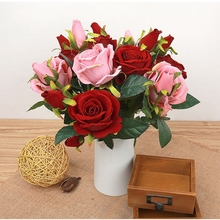 Artificial Flowers Cheap Rose Indoor Plants 6PCS Wedding Decoration  Simulation Rose Bouquet For Bridal Real Touch