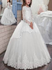 Girls Dress Ball-Gown Wedding Elegant Vintage Kids Tulle Evening-Party Baby Lace Prom-Puffy