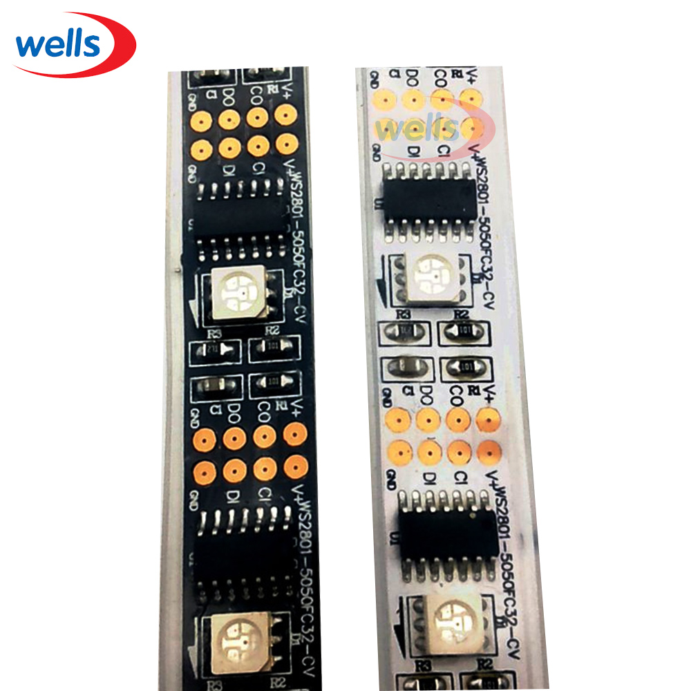 5M WS2801 Raspberry Pi Control LED Strip 32leds/m External 2801 Ic Arduino Development Ambilight DC5V Non-waterproof  5050 Smd