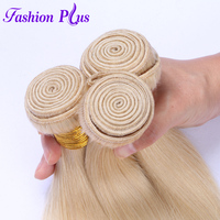 Fashion Plus 613 Blonde Straight Brazilian Hair Weave Human Hair Bundles with Closure 3PC Remy Hair 13x4 Lace Frontal Closure