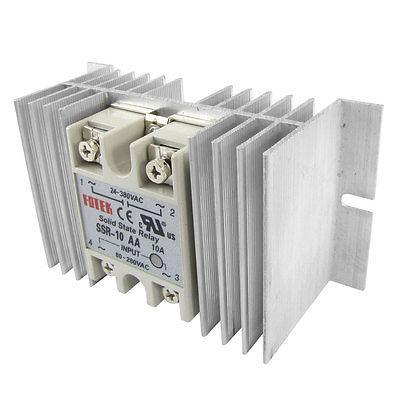 Single Phase Solid State Relay SSR 10A 24-380V DC 80-280V AC w Aluminum heatsink high quality ac ac 80 250v 24 380v 60a 4 screw terminal 1 phase solid state relay w heatsink
